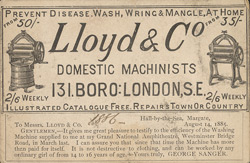 Advert For Lloyd & Co, Domestic Machinests